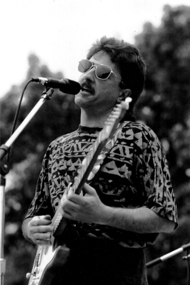 On stage with Wildest Dreams at the Cambridge Riverfest, circa 1990.